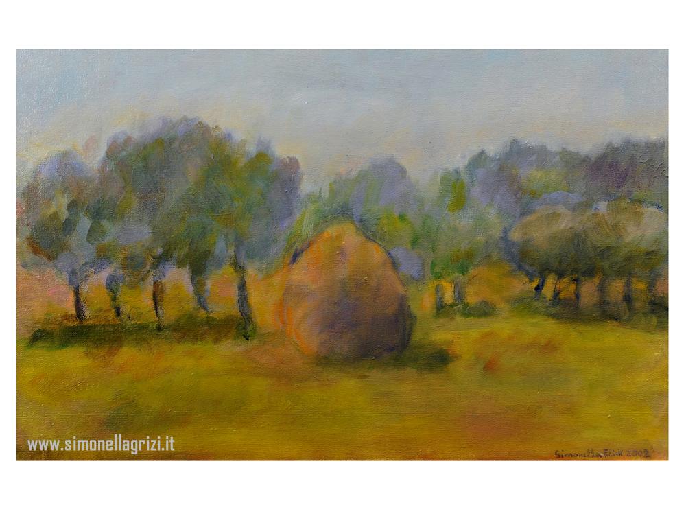 """""""Paesaggio Con Pagliaio"""", 2002 - Olio Su Tela Cm. 25 X 40"""